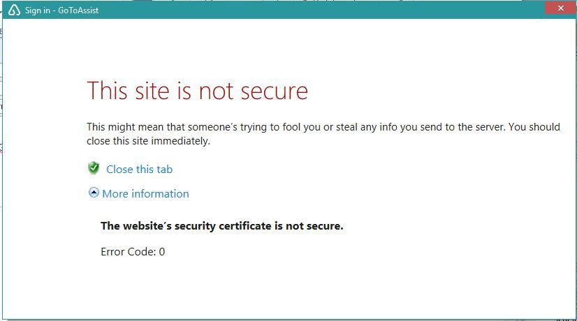 Security Certificate Error Logmein Community