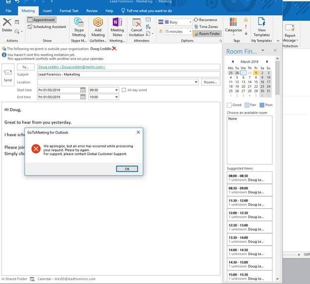 Solved: Error when trying to add a Meeting - LogMeIn Community
