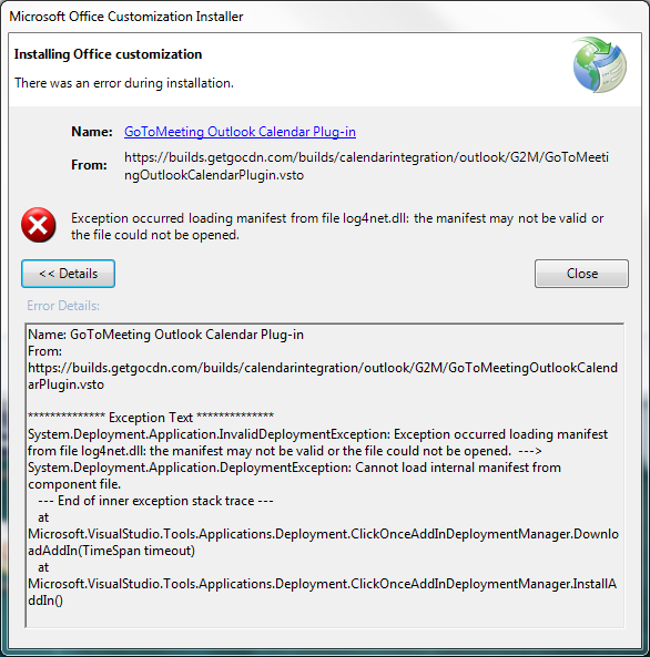 Solved: GoTo Meeting Outlook Plugin disappears  ClickOnce